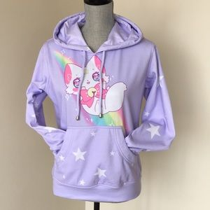 Rainbow kitty Kawaii pastel hoodie